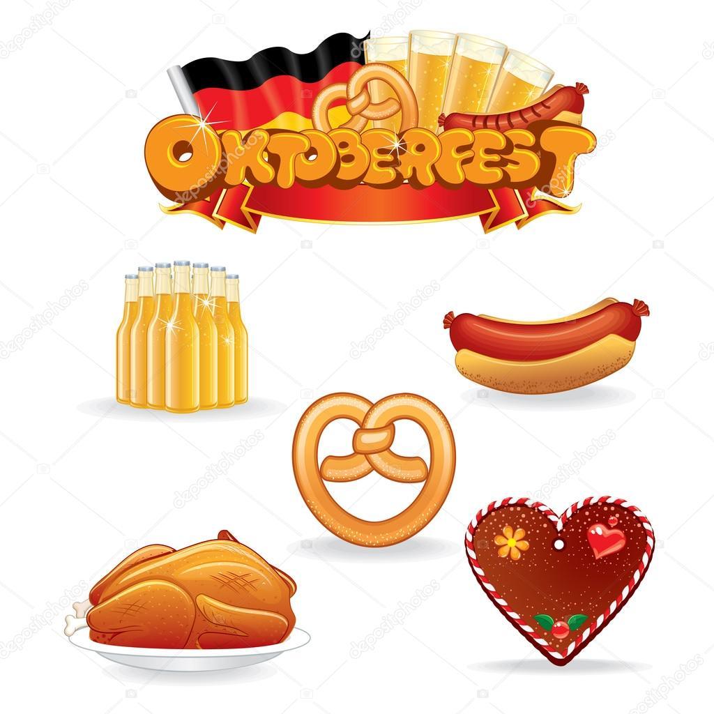 Clip art essen und trinken vector Oktoberfest-Essen und trinken-Symbole. Vektor-ClipArt ... vector