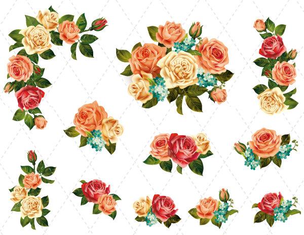 Clip art flowers bouquet. Rose frame clipart etsy