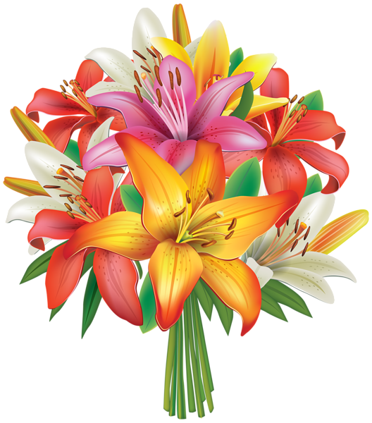 Flower bouquet clipart no background jpg freeuse Lilies Flowers Bouquet PNG Clipart Image | Flowers | Pinterest ... jpg freeuse