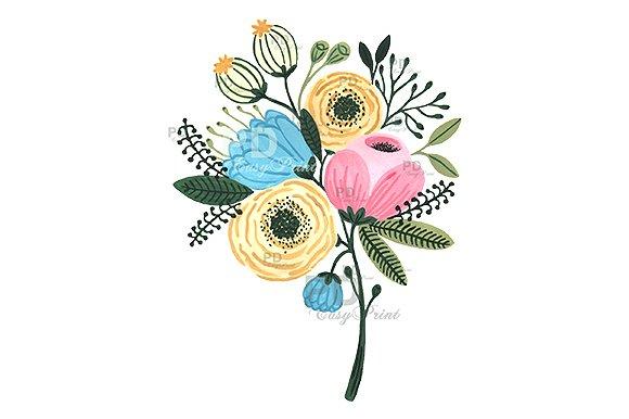 Flower watercolor clipart illustrations. Clip art flowers bouquet