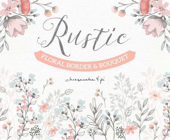 Floral border bouquet rustic. Clip art for commercial use