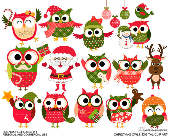 Clip art for commercial use. Christmas owls clipart