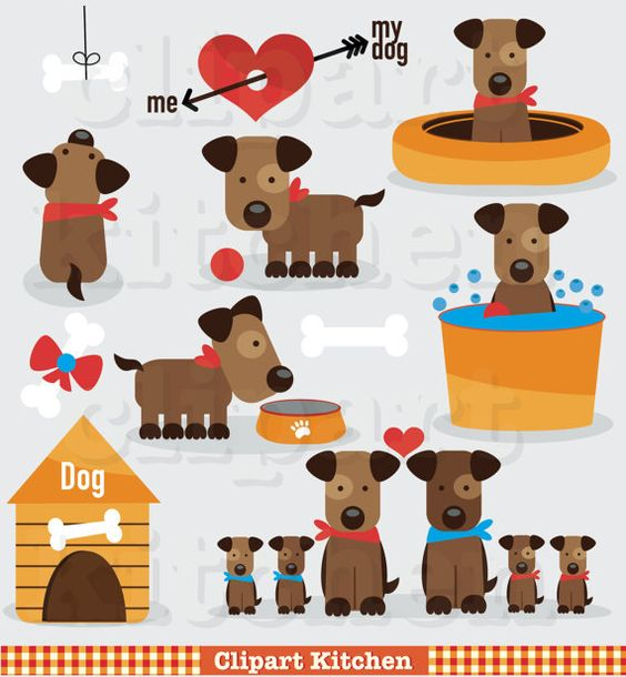 Sweet dog clipart set. Clip art for commercial use