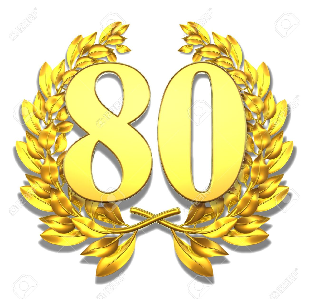 Clip art geburtstag 80 graphic transparent library Number Eighty Golden Laurel Wreath With The Number Eighty Inside ... graphic transparent library