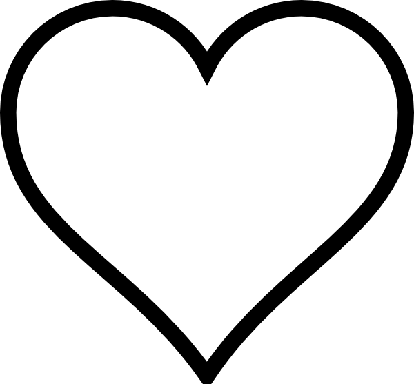 Small clip art hearts free vector black and white download heart stencil | Plain Heart clip art - vector clip art online ... vector black and white download