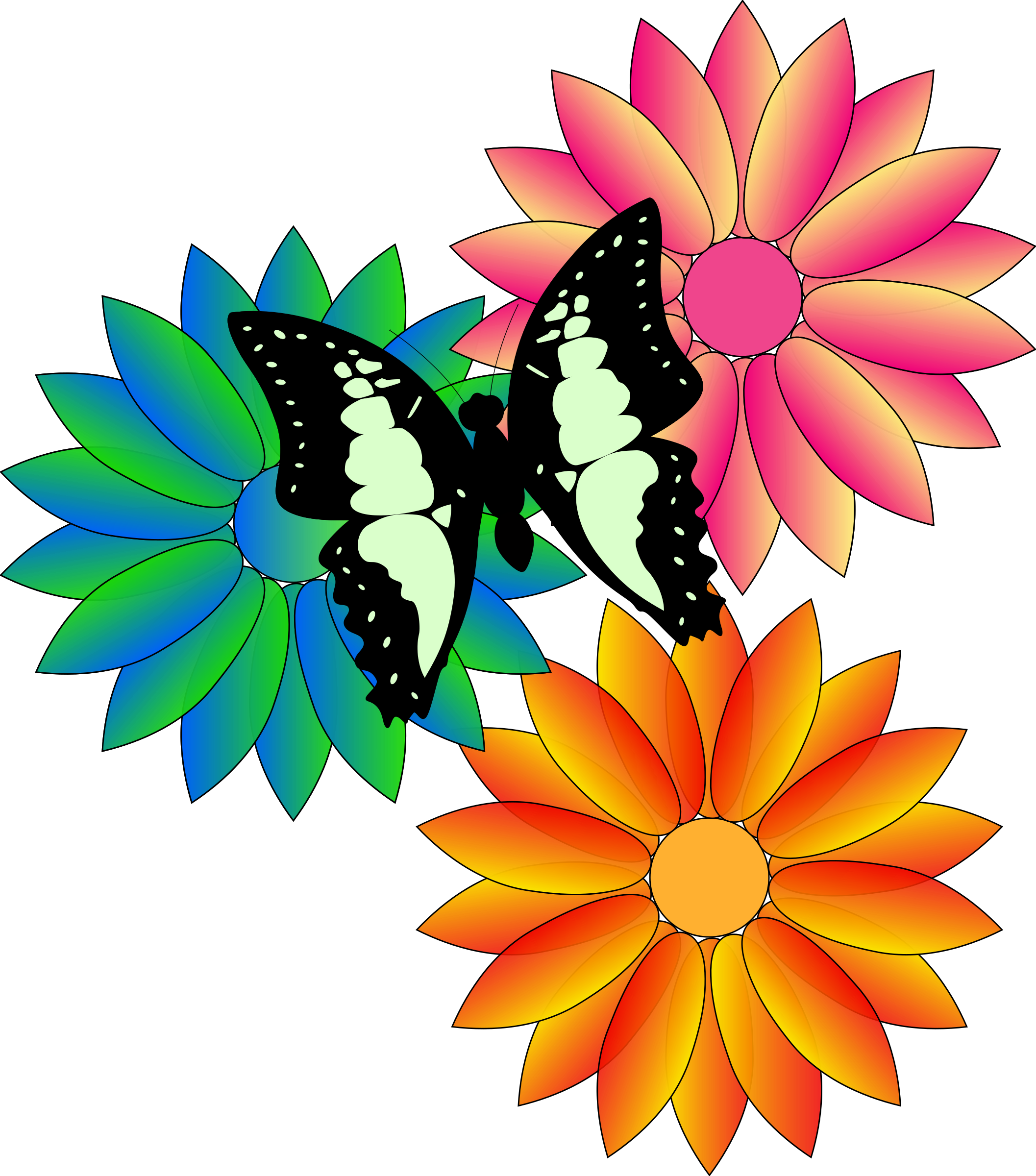 Butterfly on flower clipart jpg black and white stock Spring Flower Clipart at GetDrawings.com | Free for personal use ... jpg black and white stock