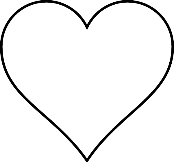 Cute heart clipart black and white png library library Heart Outline Clip Art | Small red heart black and white only clip ... png library library