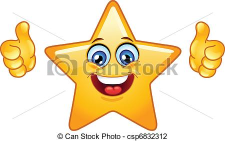 Illustrations and royalty star. Clip art of thumbs up