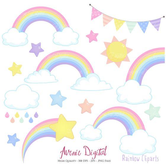 Clip art printables banner royalty free Pastel Rainbows Clipart Scrapbook printables, Vector Rainbow and ... banner royalty free