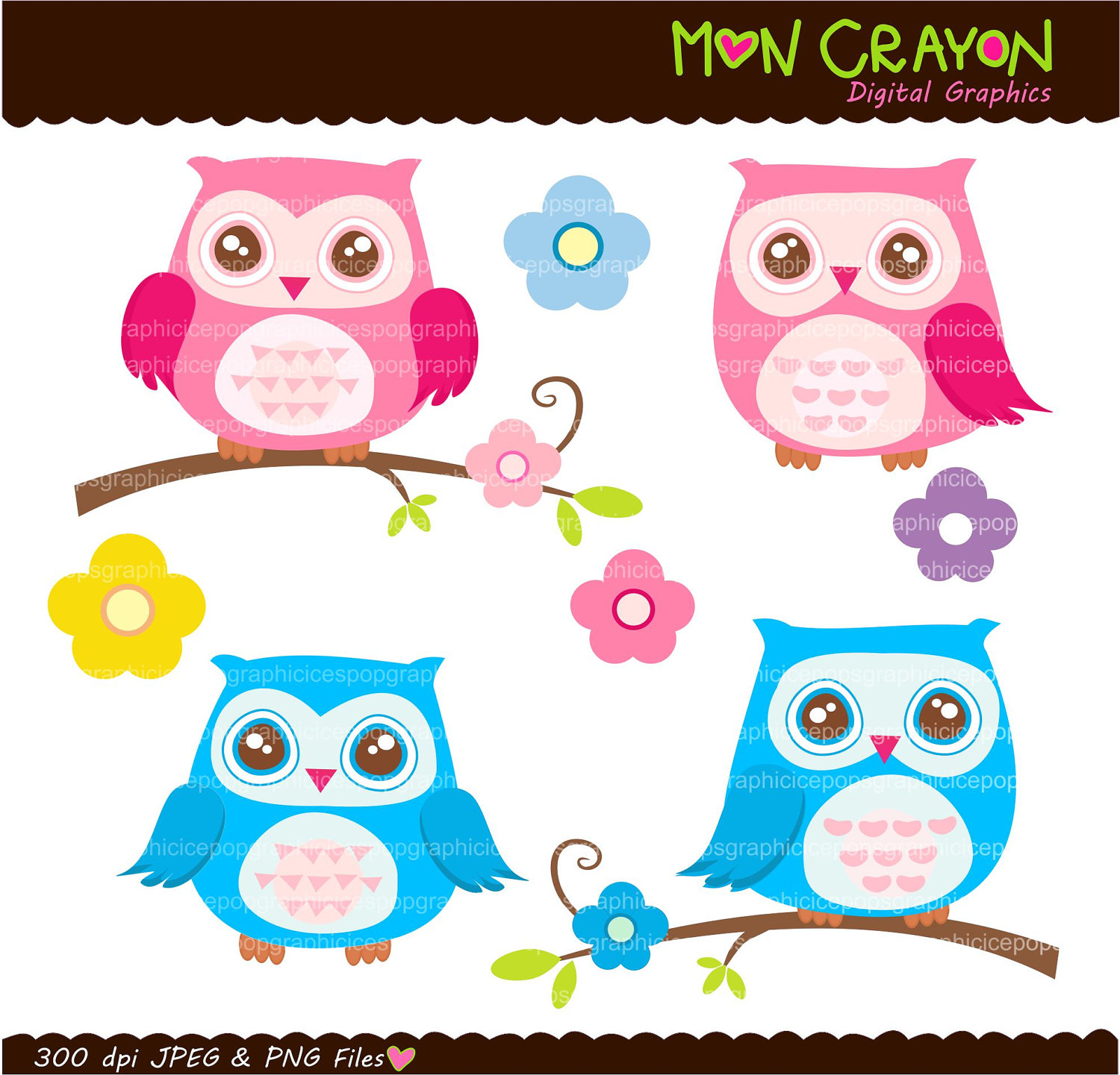 Girly navy pink owls. Clip art printables