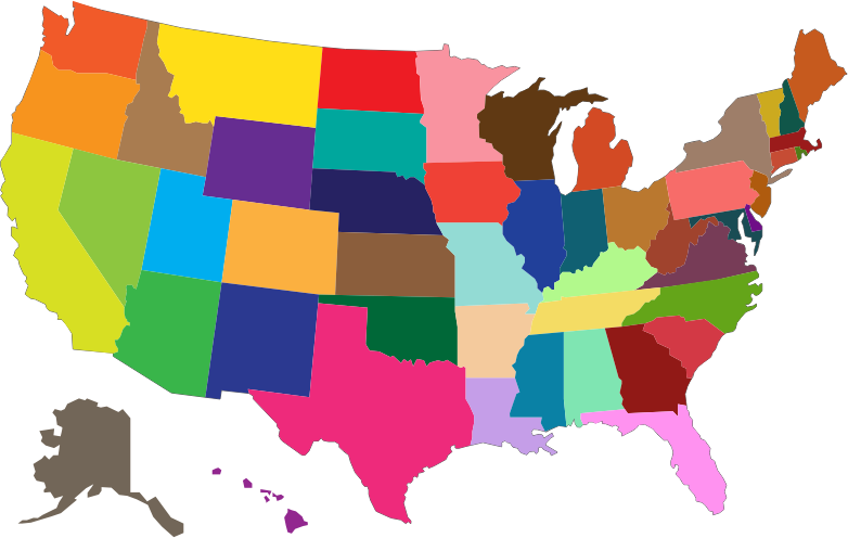 Clipart - MultiColored United States Map jpg transparent