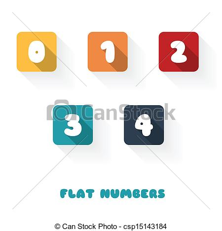 Clipart 1 2 3 4. Vector of flat design