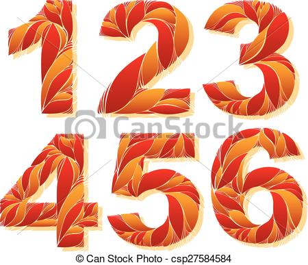 Vector of stylish flower. Clipart 1 2 3 4