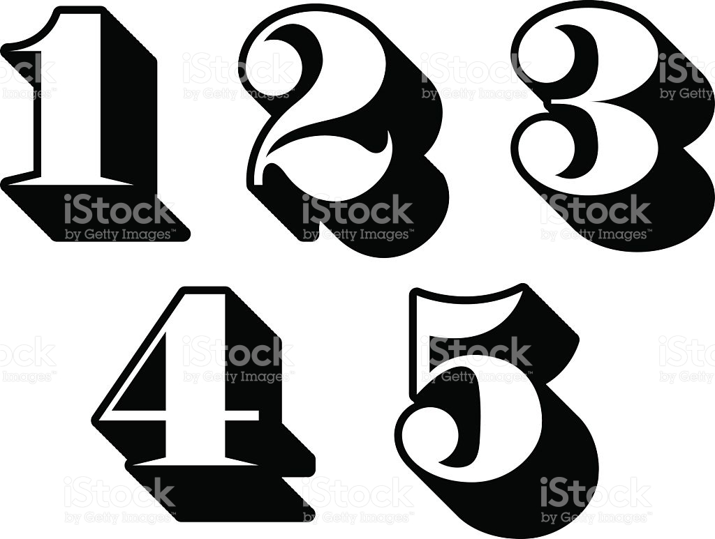 Clipart 1 2 3 4. Black and white numbers
