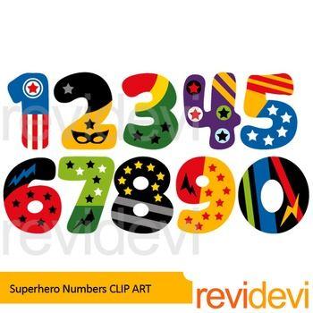 Clipart 1 2 3. Superhero numbers clip art