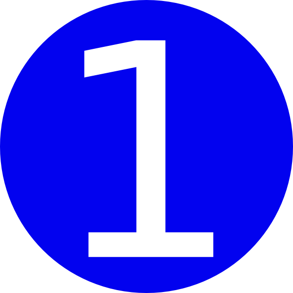 Clipart 1. Blue rounded with number