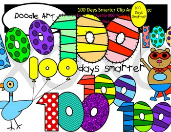 Clipart 100 days stock 100 Days Smarter Clipart Pack stock