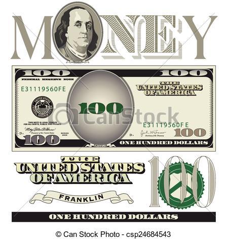 Clipart 100 dollar bill. Illustrations and clip art