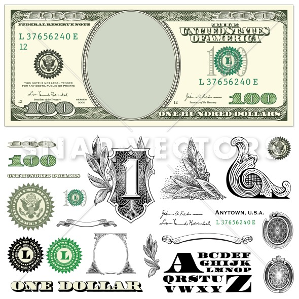 Clipart 100 dollar bill image black and white download Dollar Bill Template Clipart - Clipart Kid image black and white download