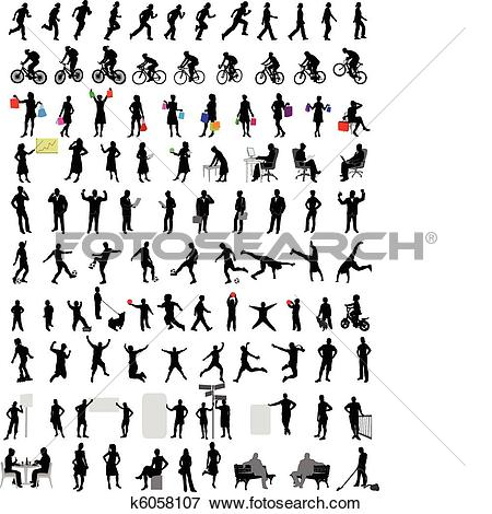 Clipart 100 people download Clip Art of 100 people silhouettes k6058107 - Search Clipart ... download