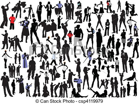 Clipart 100 people graphic royalty free EPS Vectors of 100 people silhouettes. Vector col - 100 people ... graphic royalty free