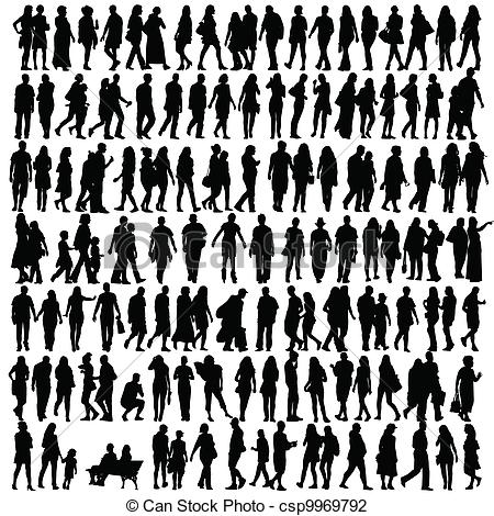Clipart 100 people image black and white library Silhouette Illustrations and Clipart. 1,234,372 Silhouette royalty ... image black and white library