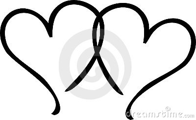 Clipart 2 hearts.  black and white