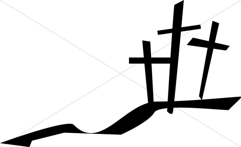 Cross on horizon clipart black and white clipart library Three Crosses on a Hill | Cross Clipart clipart library