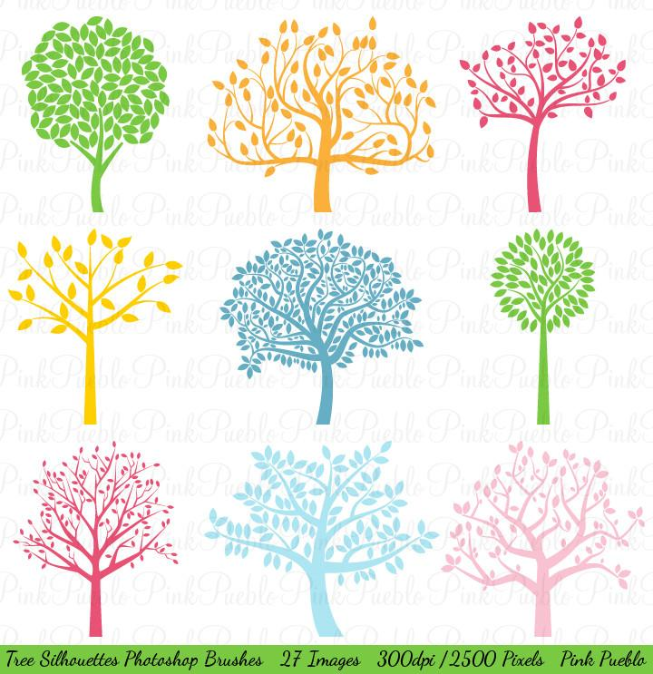 Clipart 300 dpi photoshop vector free library Tree Silhouettes Photoshop Brushes vector free library
