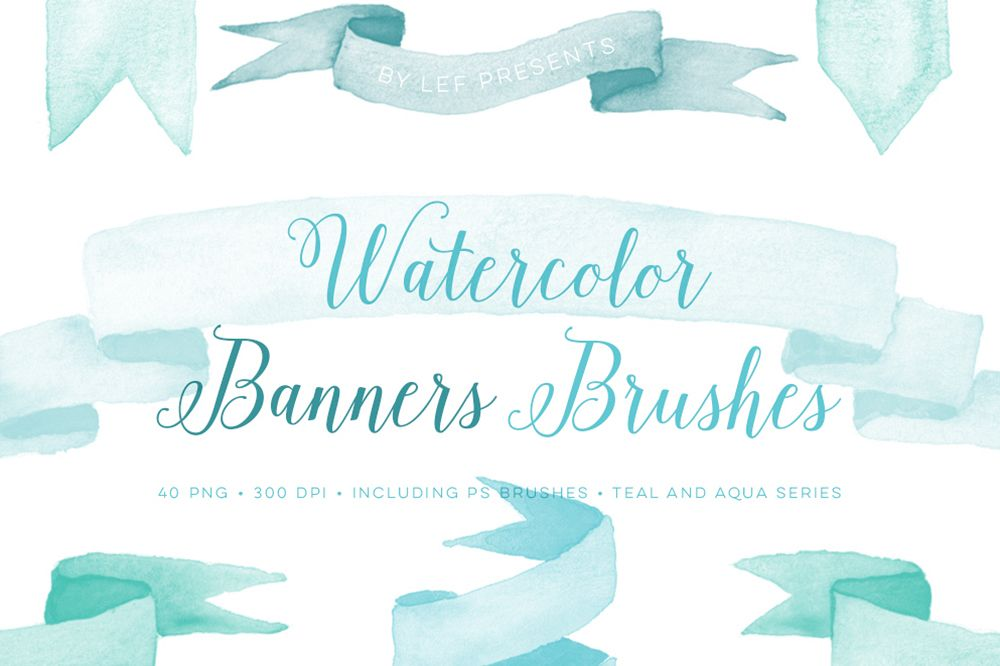 Clipart 300 dpi photoshop svg black and white Photoshop Brushes Watercolor Banner with bonus PNG clipart svg black and white