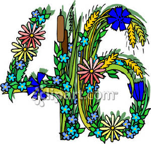 Clipart 46 free stock Number 46 Made Of Flowers - Royalty Free Clipart Picture free stock