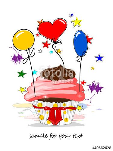 Clipart 50 geburtstag einladung jpg freeuse Einladung Geburtstag, Muffin und Ballons