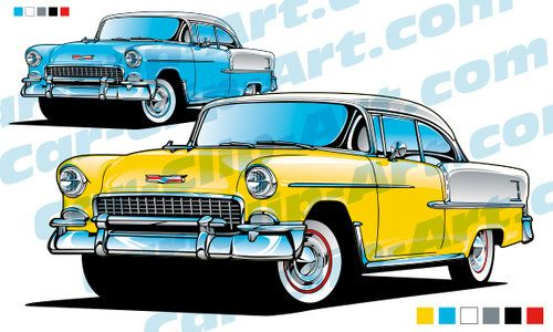 Clipart 55 chevy image freeuse stock 1955 Chevy Bel Air Vector Art | Car-Clip-Art.com Designs! | 1955 ... image freeuse stock