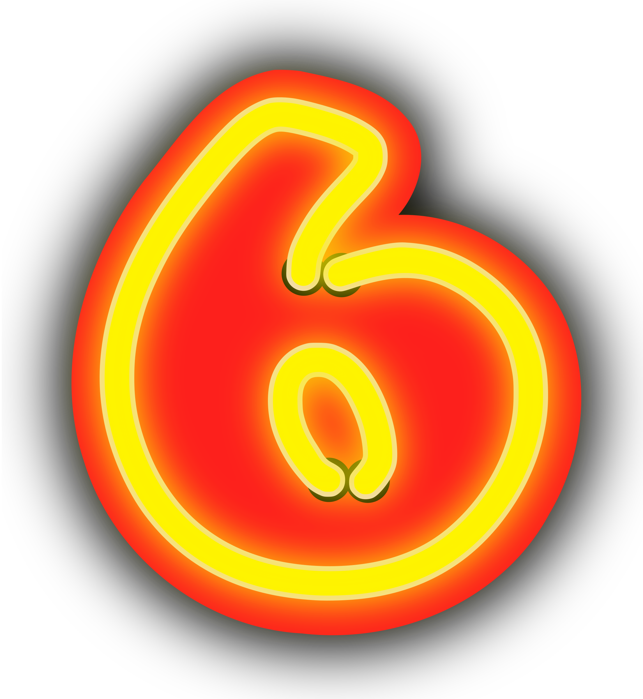Clipart 6. Neon numerals big image