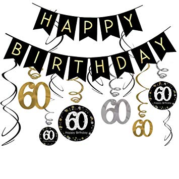 Clipart 60th birthday jpg freeuse download 60th Birthday Decorations Kit- Gold Glitter Happy Birthday Banner &  Sparkling Celebration 60 Hanging... jpg freeuse download