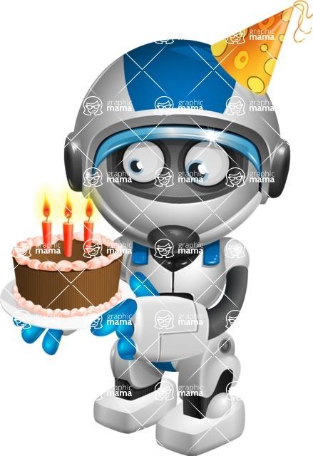 Clipart 68birthday svg royalty free download Funny Robot Cartoon Vector Character AKA Robb-E   GraphicMama ... svg royalty free download