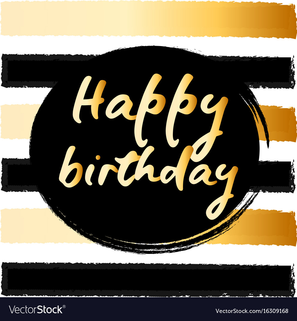 Clipart 68birthday banner black and white library Birthday postcard gold glitter vector image on VectorStock banner black and white library