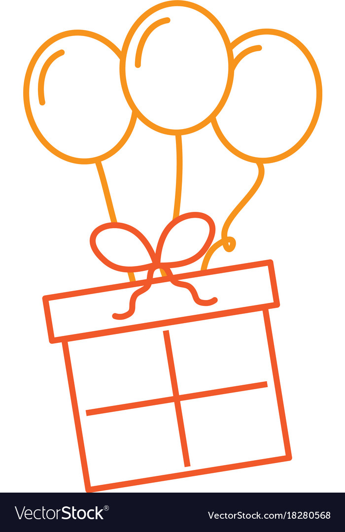 Clipart 68birthday graphic free Birthday gift box with balloons decoration vector image on VectorStock graphic free