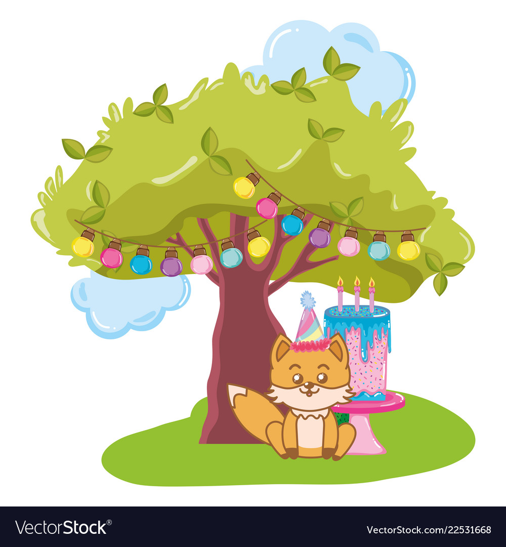 Clipart 68birthday vector free library Birthday animal cartoon vector image on VectorStock vector free library