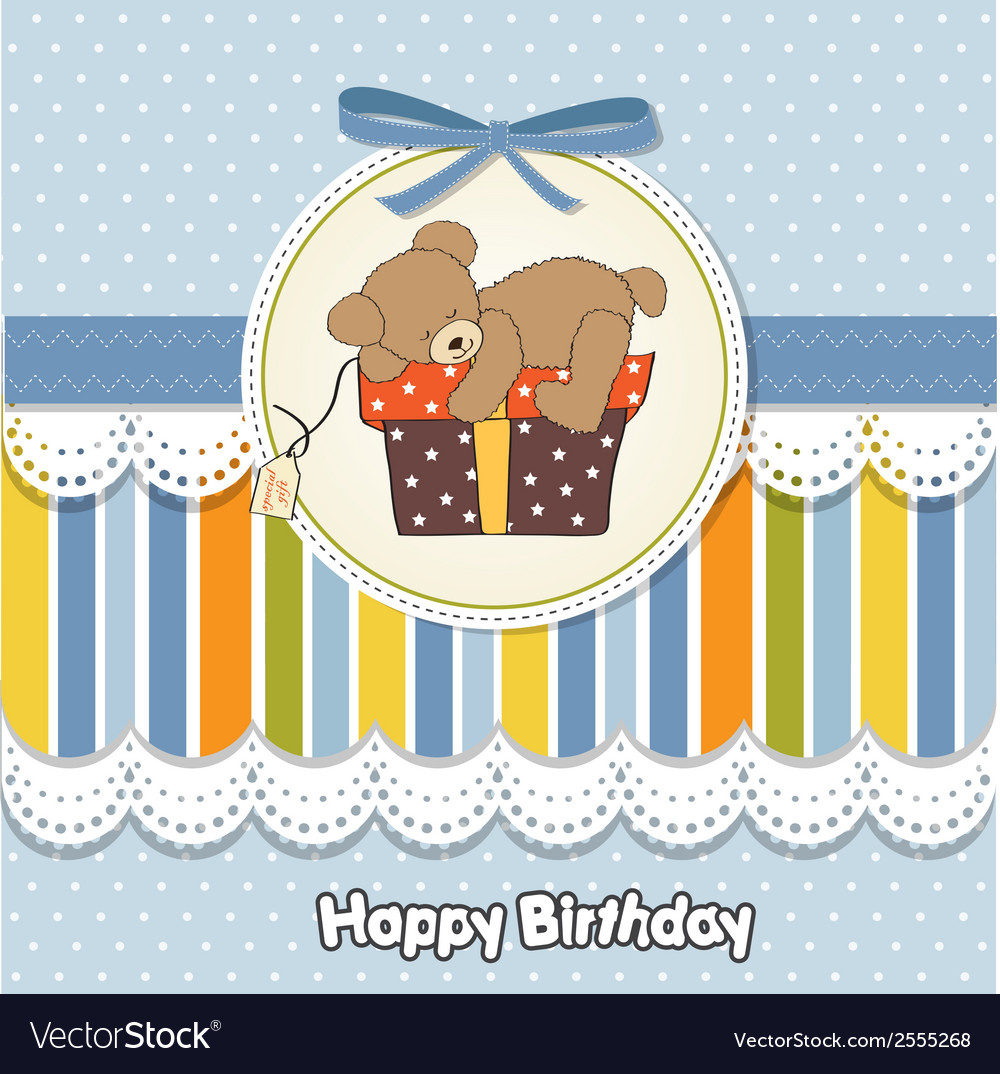 Clipart 68birthday vector royalty free Birthday greeting card with teddy bear and big vector royalty free