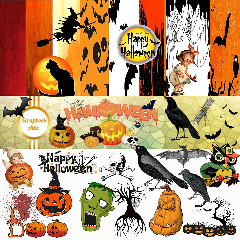 Clipart 94 svg freeuse Amazon.com: Halloween Scrapbook Kit: 94 PNG Clipart Images, 8 Paper ... svg freeuse