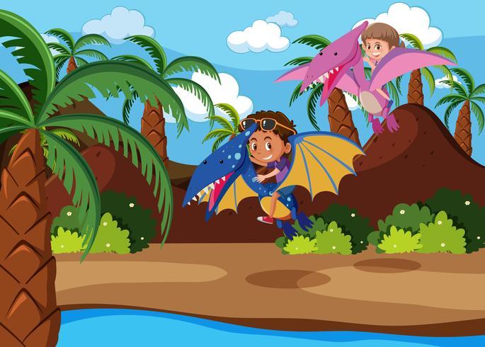 Clipart a boy riding on a dinosaur vector free download Kids riding dinosaur scene - Download Free Vector Art, Stock ... vector free download