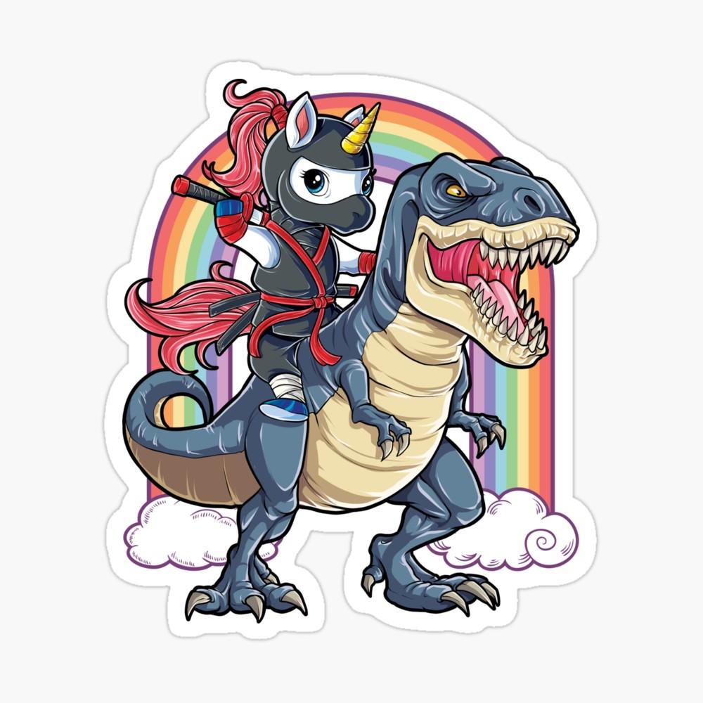 Clipart a boy riding on a dinosaur vector freeuse library Unicorn Ninja Riding Dinosaur T Shirt T rex Kids Girls Boys Rainbow ... vector freeuse library