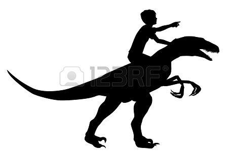 Clipart a boy riding on a dinosaur clipart free library Stock Vector | Silhouettes Kids Cartoon Silhouettes | Dinosaur ... clipart free library