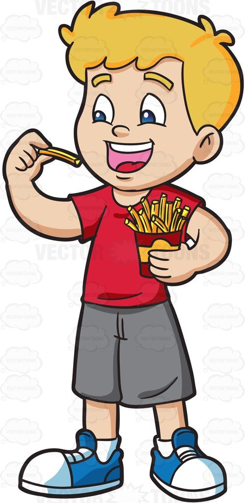 Clipart a littile girl yelling to come eat graphic transparent A boy excitedly eats a pack of French Fries #cartoon #clipart ... graphic transparent
