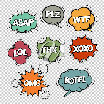 Clipart abbreviation picture download Most common used internet acronyms on comics style colorful speech ... picture download