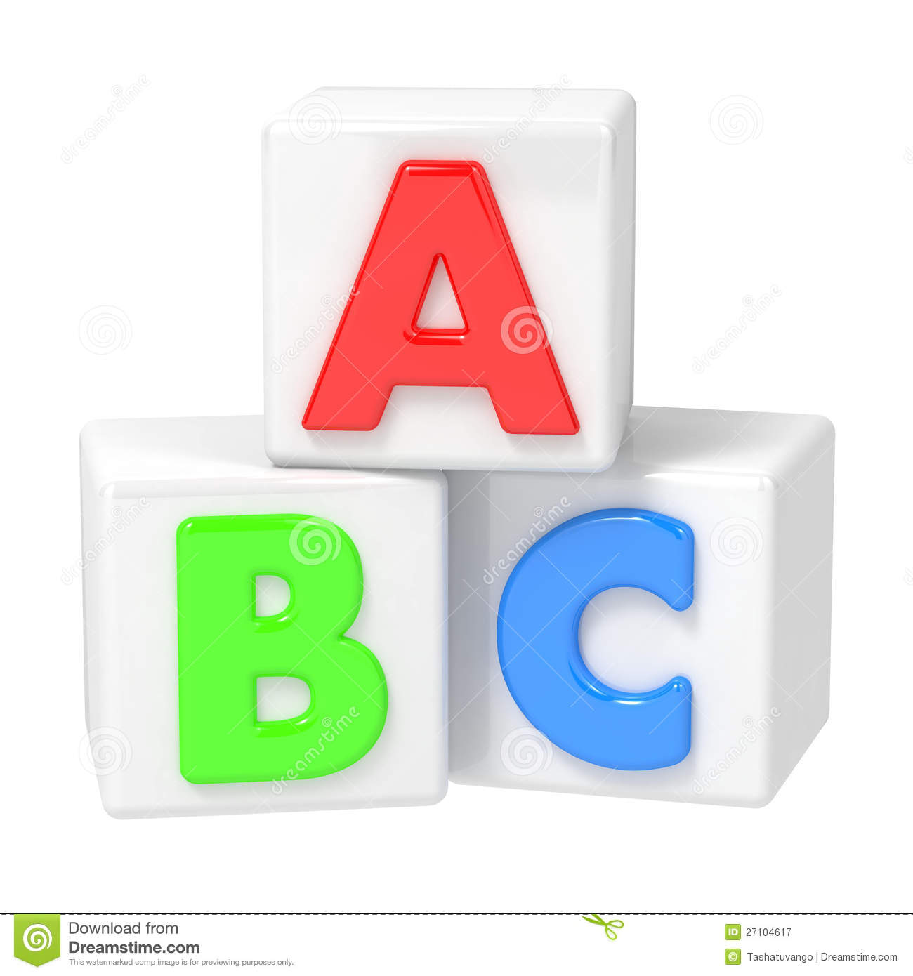 Building blocks on white. Clipart abc background