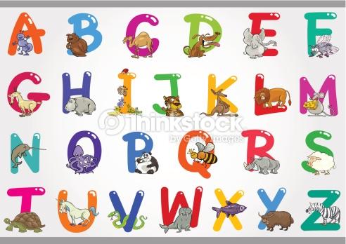 Clipart abc order. Cartoon alphabet with animals