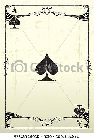 Clipart ace of spades vector black and white download Clip Art Vector of Ace Of Spades grunge background - An Ace Of ... vector black and white download