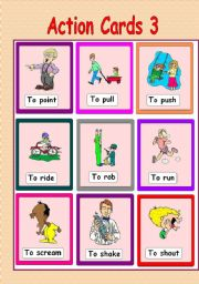 Clipart actions in english free download Action Cards 3 - ESL worksheet by venezababi free download